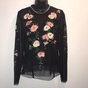 Topshop Tops - TOPSHOP Floral Mesh Top~sz 8~EUC~